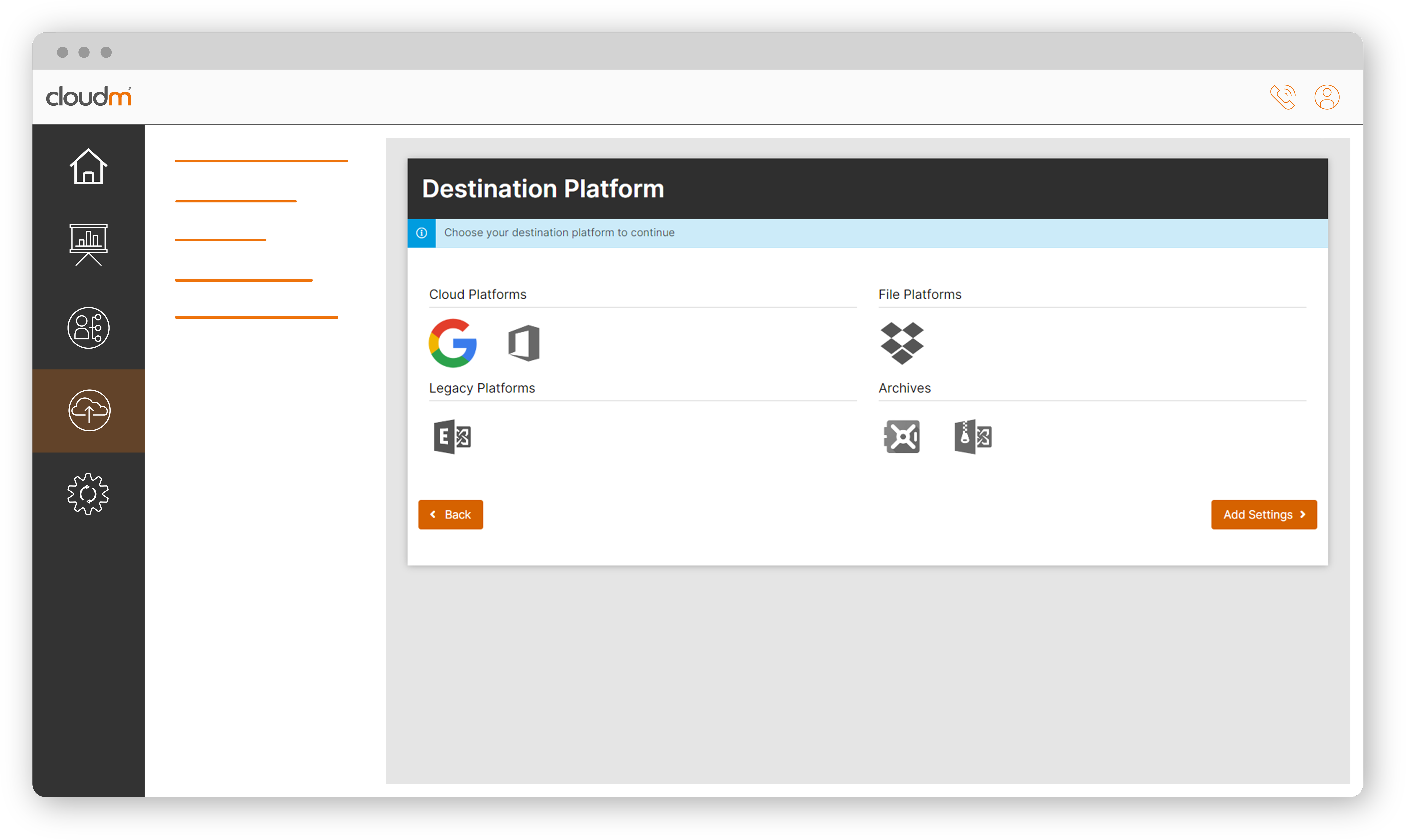 live summary dashboard on the cloud migration tool from CloudM