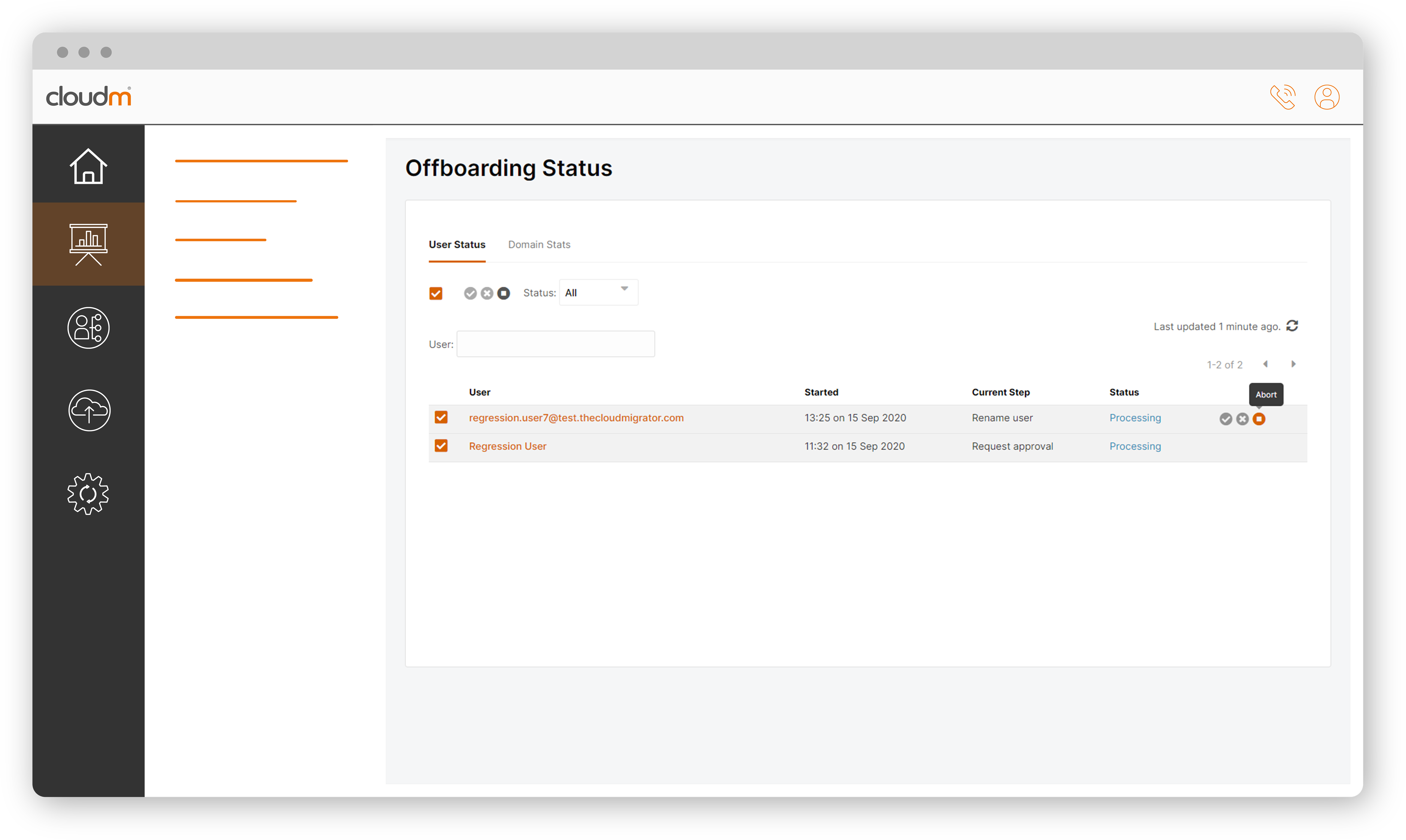 Offboarding status select all
